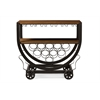 Triesta Antiqued Vintage Industrial Metal And Wood Wheeled Wine Rack Cart Brown