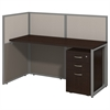 Easy Office 60W Straight Desk Open Office with 3 Drawer Mobile Pedestal in Mocha Cherry