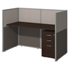 Easy Office 60W Straight Desk Closed Office with 3 Drawer Mobile Pedestal in Mocha Cherry