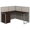 Easy Office 60W L Desk Open Office with 3 Drawer Mobile Pedestal in Mocha Cherry