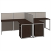 Easy Office 60W 2 Person L Desk Open Office with Two 3 Drawer Mobile Pedestals in Mocha Cherry