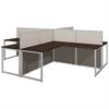 Easy Office 60W 4 Person L Desk Open Office in Mocha Cherry