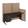 72W C-Leg Desk with 3/4 Pedestal in Mocha Cherry and Harvest Tan ProPanels