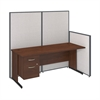 72W C-Leg Desk with 3/4 Pedestal in Hansen Cherry and Light Grey ProPanels