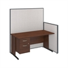 60W C-Leg Desk with 3/4 Pedestal in Hansen Cherry and Light Grey ProPanels