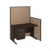 48W C-Leg Desk with 3/4 Pedestal in Mocha Cherry and Harvest Tan ProPanels