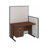 48W C-Leg Desk with 3/4 Pedestal in Hansen Cherry and Light Grey ProPanels