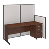72W C-Leg Desk with 3 Drawer Mobile Pedestal in Hansen Cherry and Light Grey ProPanels