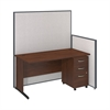 60W C-Leg Desk with 3 Drawer Mobile Pedestal in Hansen Cherry and Light Grey ProPanels