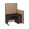 48W C-Leg Desk with 3 Drawer Mobile Pedestal in Mocha Cherry and Harvest Tan ProPanels