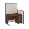 48W C-Leg Desk with 3 Drawer Mobile Pedestal in Hansen Cherry and Light Grey ProPanels