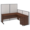 72W C-Leg L-Desk with 3 Drawer Mobile Pedestal in Hansen Cherry and Light Grey ProPanels