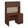 Bush Business Furniture 48W x 30D Desk Shell with Hutch and 3Drawer  Pedestal in Hansen Cherry