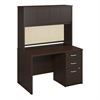 Bush Business Furniture 48W x 30D Desk Shell with Hutch and 3Drawer  Pedestal in Mocha Cherry