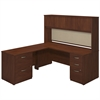 72W x 30D Desk Shell with 48W Return, Hutch and Storage in Hansen Cherry