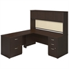 72W x 30D Desk Shell with 48W Return, Hutch and Storage in Mocha Cherry