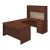 60W x 36D Bow Front U Station with Hutch and Storage in Hansen Cherry
