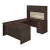 60W x 36D Bow Front U Station with Hutch and Storage in Mocha Cherry