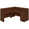 Bush Business Furniture 72W x 30D L Reception Station with Storage in Hansen Cherry