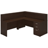 Bush Business Furniture 72W x 30D L Reception Station with Storage in Mocha Cherry