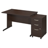 48W x 30D C Leg Desk with Storage in Mocha Cherry