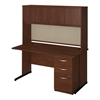 60W x 30D C Leg Desk with Storage in Hansen Cherry