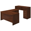 Bush Business Furniture 60W x 36D Bow Front U Station with Standing Height Desk and Storage in Hansen Cherry