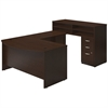 Bush Business Furniture 60W x 36D Bow Front U Station with Standing Height Desk and Storage in Mocha Cherry