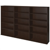 66H Bookcase Storage Wall in Mocha Cherry