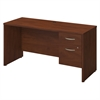 Series C Elite 60W x 24D Desk Shell with 3/4 Pedestal in Hansen Cherry