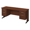 Series C Elite 72W x 24D C Leg Desk with Two 3/4 Pedestals in Hansen Cherry