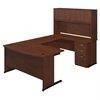 Bush Business Furniture Series C Elite 60W x 36D C Leg Bow Front U Station with Storage in Hansen Cherry
