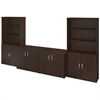 36W Storage Cabinets with Bookcases in Mocha Cherry