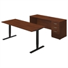 Series C Elite 72W Height Adjustable Standing Desk with Credenza in Hansen Cherry