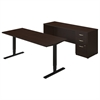 Series C Elite 72W Height Adjustable Standing Desk with Credenza in Mocha Cherry