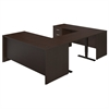 Bush Business Furniture Series C Elite 72W U-Station with Height Adjustable Standing Bridge in Mocha Cherry