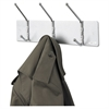 Metal Wall Rack, Three Ball-Tipped Double-Hooks, 18w x 3-3/4d x 7h, Satin Metal