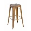 Set of 4 Metal Backless Stackable Café Chairs, Antique Copper