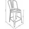 Set of 4 Metal Stacking Chairs, Matte Green