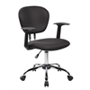 Mid-Back Fabric Task Chair with Arms and Chrome Base, Jet Black