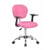 Mid-Back Fabric Task Chair with Arms and Chrome Base, Rose Pink