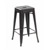 Set of 2 Metal Backless Stackable Café Chairs, Antique Black Brush Coat