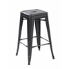 Set of 4 Metal Backless Stackable Café Chairs, Antique Black + Sliver
