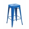 Set of 4 Metal Backless Stackable Café Chairs, Bright Deep Blue