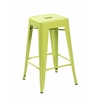 Set of 4 Metal Backless Stackable Café Chairs, Matte Apple Green