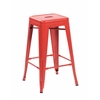 Set of 4 Metal Backless Stackable Café Chairs, Matte Red