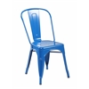 Set of 2 Metal Stackable Chairs, Bright Deep Blue