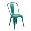 Set of 4 Metal Stackable Industrial Chic Bistro Café Side Chairs, Matte Green