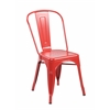 Set of 4 Metal Stackable Industrial Chic Bistro Café Side Chairs, Matte Red