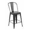 Set of 4 Metal Stacking Chairs, Antique Black Brush Coat